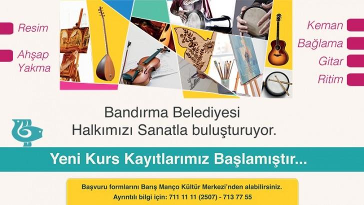 Bandırma'da Sanat Kursları Başlıyor