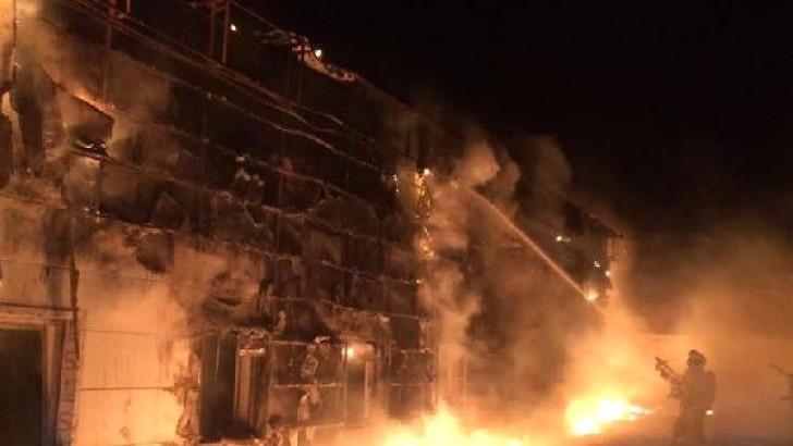 Bandırma Devlet Hastanesi Ek Binası İnşaatında Yangın Paniği