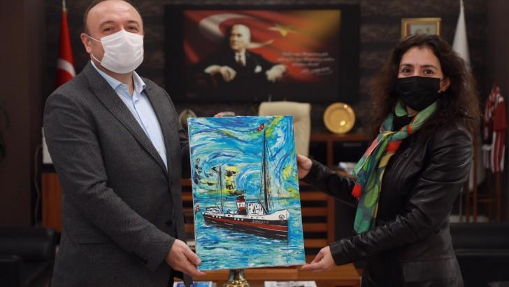 Ressam Gülsüm Yazar Sönmez'den  Rektör Özdemir'e Nezaket Ziyareti